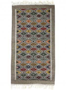 Tapis berbère Tapis Kilim Edewi 60x111 Gris (Tissé main, Laine, Tunisie) Tapis kilim tunisien style tapis marocain. Tapis rectan