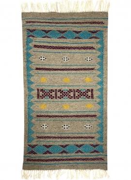 Tapis berbère Tapis Kilim Dalan 68x127 Gris (Tissé main, Laine, Tunisie) Tapis kilim tunisien style tapis marocain. Tapis rectan