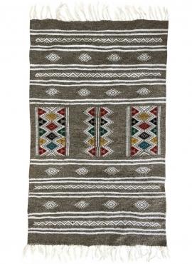 Tapis berbère Tapis Kilim Cubub 69x112 Gris (Tissé main, Laine, Tunisie) Tapis kilim tunisien style tapis marocain. Tapis rectan