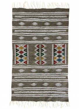 Berber Teppich Teppich Kelim Cubub 69x112 Grau (Handgewebt, Wolle, Tunesien) Tunesischer Kelim-Teppich im marokkanischen Stil. R