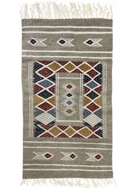 Tapis berbère Tapis Kilim Bezza 58x102 Gris (Tissé main, Laine, Tunisie) Tapis kilim tunisien style tapis marocain. Tapis rectan