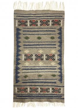 Tapis berbère Tapis Kilim Annaz 68x121 Gris (Tissé main, Laine, Tunisie) Tapis kilim tunisien style tapis marocain. Tapis rectan