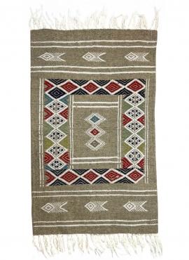 Tapis berbère Tapis Kilim Awriba 58x96 Gris (Tissé main, Laine, Tunisie) Tapis kilim tunisien style tapis marocain. Tapis rectan