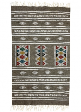 Tapete berbere Tapete Kilim Amadur 69x114 Cinza (Tecidos à mão, Lã, Tunísia) Tapete tunisiano kilim, estilo marroquino. Tapete r