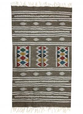 Berber Teppich Teppich Kelim Amadur 69x114 Grau (Handgewebt, Wolle, Tunesien) Tunesischer Kelim-Teppich im marokkanischen Stil.