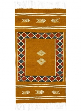 Tapis berbère Tapis Kilim Belem 56x104 Jaune ocre (Tissé main, Laine, Tunisie) Tapis kilim tunisien style tapis marocain. Tapis