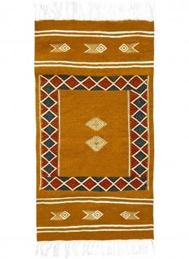 Berber Teppich Teppich Kelim Belem 56x104 Gelb (Handgewebt, Wolle, Tunesien) Tunesischer Kelim-Teppich im marokkanischen Stil. R
