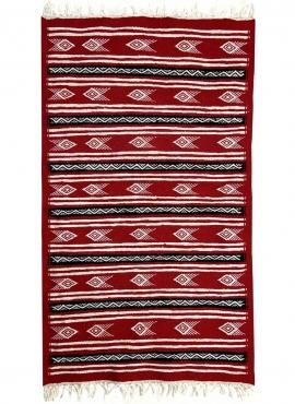 Berber Teppich Teppich Kelim Danbelu 72x120 Rot (Handgewebt, Wolle, Tunesien) Tunesischer Kelim-Teppich im marokkanischen Stil.