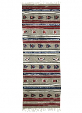 Tapete berbere Tapete Kilim longo Faskat 68x194 Cinza (Tecidos à mão, Lã, Tunísia) Tapete tunisiano kilim, estilo marroquino. Ta
