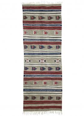 Tapis berbère Tapis Kilim long Faskat 68x194 Gris (Tissé main, Laine, Tunisie) Tapis kilim tunisien style tapis marocain. Tapis
