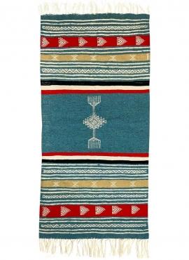 Berber carpet Rug Kilim Ebeles 56x116 Blue turquoise/Yellow/Red (Handmade, Wool) Tunisian Rug Kilim style Moroccan rug. Rectangu