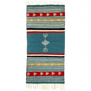 Berber tapijt Tapijt Kilim Ebeles 56x116 Turkoois/Jeel/Rood (Handgeweven, Wol, Tunesië) Tunesisch kilimdeken, Marokkaanse stijl.