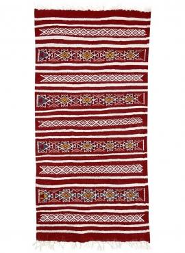 Tapis berbère Tapis Kilim Friqya 57x118 Rouge (Tissé main, Laine, Tunisie) Tapis kilim tunisien style tapis marocain. Tapis rect