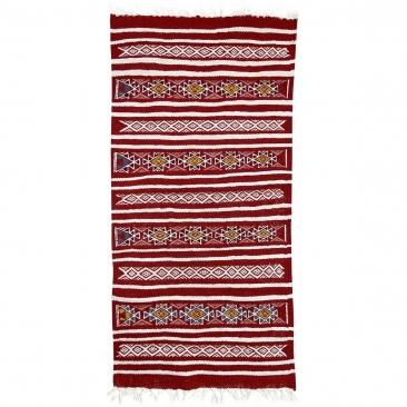 tappeto berbero Tappeto Kilim Friqya 57x118 Rosso (Fatto a mano, Lana, Tunisia) Tappeto kilim tunisino, in stile marocchino. Tap