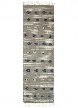Tapete berbere Tapete Kilim longo Ernoud 73x227 Cinza (Tecidos à mão, Lã, Tunísia) Tapete tunisiano kilim, estilo marroquino. Ta