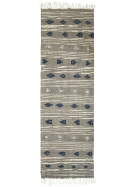 Berber tapijt Tapijt Kilim lang Ernoud 73x227 Grijs (Handgeweven, Wol, Tunesië) Tunesisch kilimdeken, Marokkaanse stijl. Rechtho