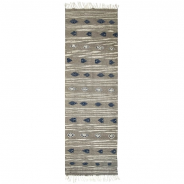 tappeto berbero Tappeto Kilim lungo Ernoud 73x227 Grigio (Fatto a mano, Lana, Tunisia) Tappeto kilim tunisino, in stile marocchi