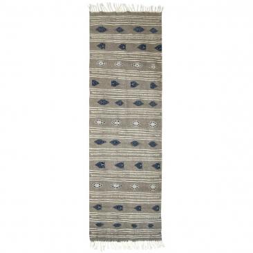 Berber Teppich Teppich Kelim lang Ernoud 73x227 Grau (Handgewebt, Wolle, Tunesien) Tunesischer Kelim-Teppich im marokkanischen S