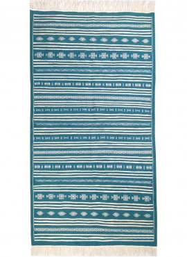 Berber carpet Rug Kilim Thegha 112x208  Blue turquoise (Handmade, Wool) Tunisian Rug Kilim style Moroccan rug. Rectangular carpe