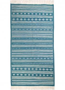 Tapis berbère Tapis Kilim Thegha 112x208 Bleu turquoise (Tissé main, Laine) Tapis kilim tunisien style tapis marocain. Tapis rec