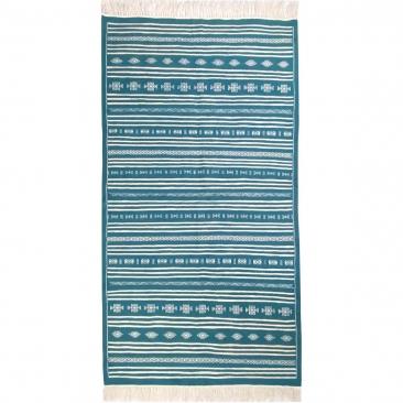 Berber Teppich Teppich Kelim Thegha 112x208  Türkis (Handgewebt, Wolle) Tunesischer Kelim-Teppich im marokkanischen Stil. Rechte