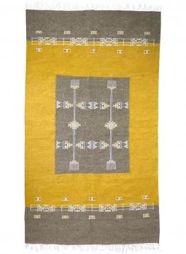Tapete berbere Tapete Kilim Israsen 114x202 Cinza/Amarelo (Tecidos à mão, Lã, Tunísia) Tapete tunisiano kilim, estilo marroquino