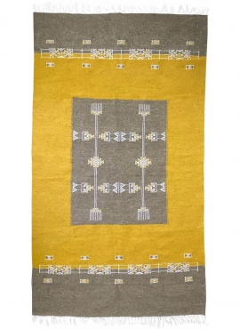 Berber tapijt Tapijt Kilim Israsen 114x202 Grijs/Geel (Handgeweven, Wol, Tunesië) Tunesisch kilimdeken, Marokkaanse stijl. Recht