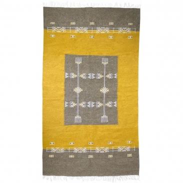 Berber Teppich Teppich Kelim Israsen 114x202 Grau/Gelb (Handgewebt, Wolle, Tunesien) Tunesischer Kelim-Teppich im marokkanischen