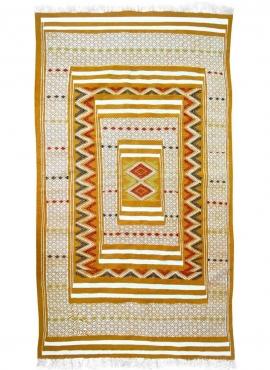 Tapis berbère Tapis Kilim Fahs 100x150 Jaune/blanc (Tissé main, Laine) Tapis kilim tunisien style tapis marocain. Tapis rectangu