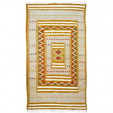 Alfombra bereber Alfombra Kilim Tegiza 112x200 Amarillo/Blanco (Hecho a mano, Lana) Alfombra kilim tunecina, estilo marroquí. Al