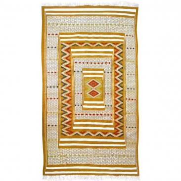 Berber Teppich Teppich Kelim Tegiza 112x200 Gelb/Weiss (Handgewebt, Wolle) Tunesischer Kelim-Teppich im marokkanischen Stil. Rec