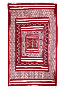 Tapete berbere Tapete Kilim Yekker 114x194 Vermelho (Tecidos à mão, Lã, Tunísia) Tapete tunisiano kilim, estilo marroquino. Tape