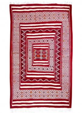 tappeto berbero Tappeto Kilim Yekker 114x194 Rosso (Fatto a mano, Lana, Tunisia) Tappeto kilim tunisino, in stile marocchino. Ta