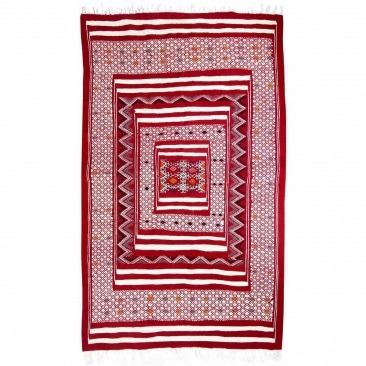 Alfombra bereber Alfombra Kilim Yekker 114x194 Rojo (Hecho a mano, Lana, Túnez) Alfombra kilim tunecina, estilo marroquí. Alfomb