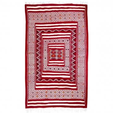 Berber Teppich Teppich Kelim Yekker 114x194 Rot (Handgewebt, Wolle, Tunesien) Tunesischer Kelim-Teppich im marokkanischen Stil.