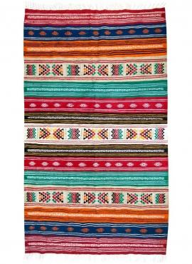 Tapis berbère Tapis Kilim carmona 110x150 Multicolore (Tissé main, Laine) Tapis kilim tunisien style tapis marocain. Tapis recta
