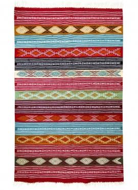 Berber tapijt Tapijt Kilim Nemzi 118x192 Veelkleurig (Handgeweven, Wol, Tunesië) Tunesisch kilimdeken, Marokkaanse stijl. Rechth
