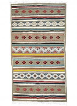 Berber tapijt Tapijt Kilim Luki 110x200 Veelkleurig (Handgeweven, Wol, Tunesië) Tunesisch kilimdeken, Marokkaanse stijl. Rechtho