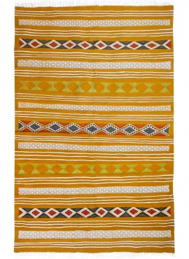 Alfombra bereber Alfombra Kilim Kadey 123x196 Amarillo (Hecho a mano, Lana) Alfombra kilim tunecina, estilo marroquí. Alfombra r