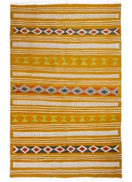 Tapis berbère Tapis Kilim Kadey 123x196 Jaune (Tissé main, Laine) Tapis kilim tunisien style tapis marocain. Tapis rectangulaire