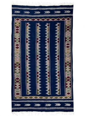 Berber carpet Rug Kilim Laarbi 135x235 Blue (Handmade, Wool) Tunisian Rug Kilim style Moroccan rug. Rectangular carpet 100% wool