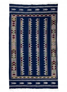 Tapis berbère Tapis Kilim Laarbi 135x235 Bleu (Tissé main, Laine) Tapis kilim tunisien style tapis marocain. Tapis rectangulaire