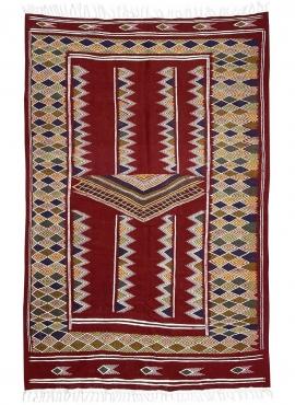 Berber carpet Rug Kilim Ingad 135x240 Red Bordeaux (Handmade, Wool) Tunisian Rug Kilim style Moroccan rug. Rectangular carpet 10