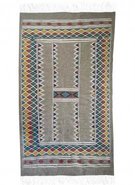 Tapis berbère Tapis Kilim Gayaya 132x250 Gris (Tissé main, Laine) Tapis kilim tunisien style tapis marocain. Tapis rectangulaire