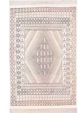 Tapis berbère Grand Tapis Margoum Zarbia 205x300 Blanc (Fait main, Laine, Tunisie) Tapis margoum tunisien de la ville de Kairoua