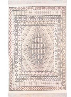 Berber Teppich Großer Teppich Margoum Zarbia 205x300 Weiß (Handgefertigt, Wolle, Tunesien) Tunesischer Margoum-Teppich aus der S