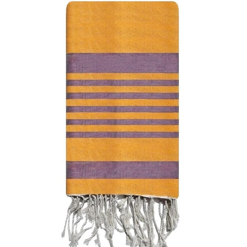 Fouta Handmade Pensée - 100x200 - Orange/Purple - 100% cotton