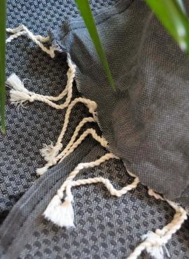 Fouta Cassis Honeycomb - 100x200 - Black - 100% cotton