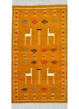 Berber Teppich Teppich Kelim Waha 60 x 107 cm Gelb/Rot/Grün (Handgewebt, Wolle) Tunesischer Kelim-Teppich im marokkanischen Stil
