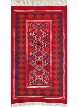 Berber tapijt Tapijt Kilim Mellila 60x100 Rood/Blauw (Handgeweven, Wol, Tunesië) Tunesisch kilimdeken, Marokkaanse stijl. Rechth